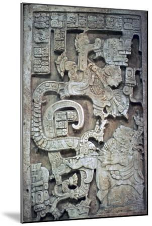 Mayan stone lintel showing a serpent god and priest-Unknown-Mounted Giclee Print