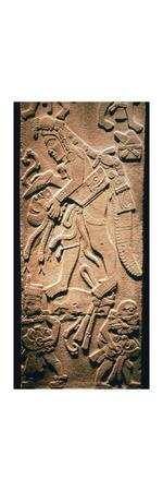 Mayan stela showing human sacrifice-Unknown-Stretched Canvas Print