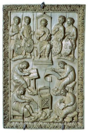 Ivory plaque of a reliquary from the treasure of St Denis, 10th century-Unknown-Framed Giclee Print