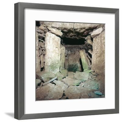 Interior of Neolithic burial chamber, 26th century BC-Unknown-Framed Photographic Print