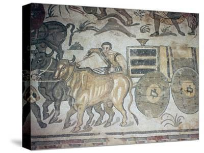 Roman mosaic of a bullock cart, 3rd century-Unknown-Stretched Canvas Print