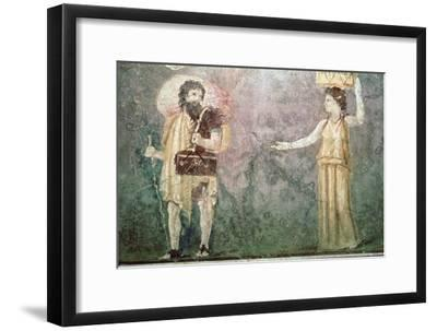 Roman wall painting of servants, 1st century BC-Unknown-Framed Giclee Print