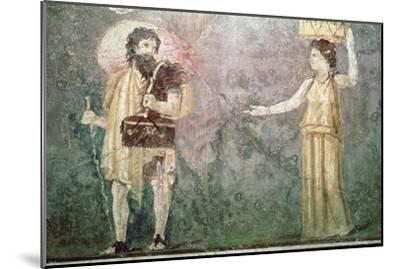 Roman wall painting of servants, 1st century BC-Unknown-Mounted Giclee Print