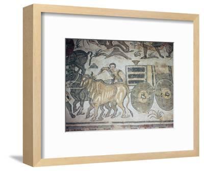 Roman mosaic of a bullock cart, 3rd century-Unknown-Framed Giclee Print
