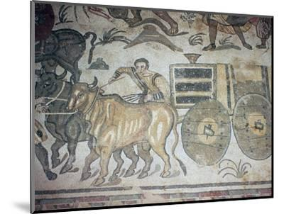 Roman mosaic of a bullock cart, 3rd century-Unknown-Mounted Giclee Print