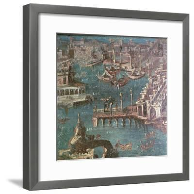 Roman wall painting of a harbour scene-Unknown-Framed Giclee Print