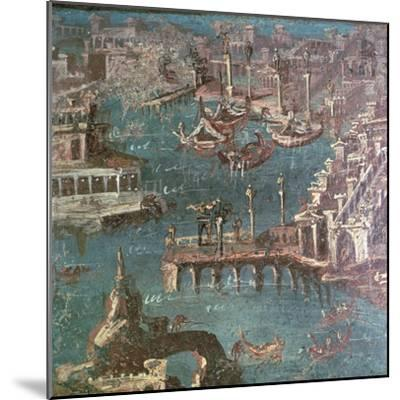 Roman wall painting of a harbour scene-Unknown-Mounted Giclee Print
