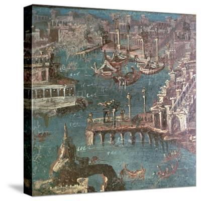 Roman wall painting of a harbour scene-Unknown-Stretched Canvas Print