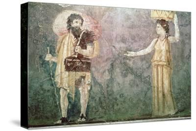 Roman wall painting of servants, 1st century BC-Unknown-Stretched Canvas Print