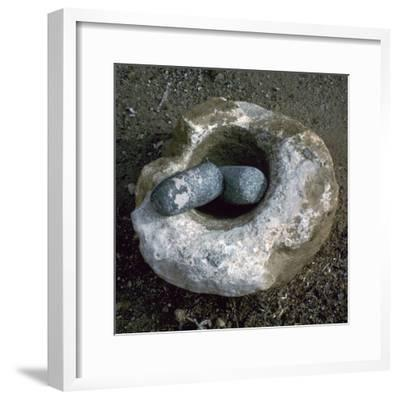 Quern for grinding corn, Neolithic-Unknown-Framed Giclee Print