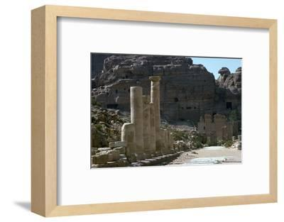 Colonnaded street in the centre of Petra-Unknown-Framed Photographic Print