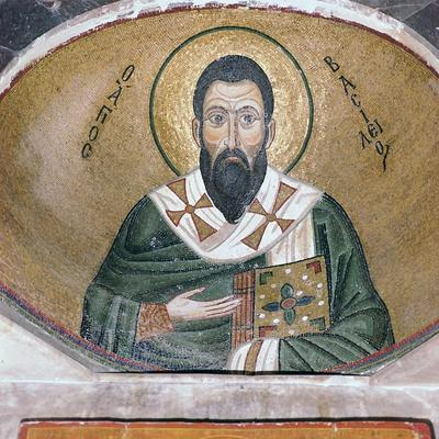A byzantine mosaic of St Basil, 11th century-Unknown-Framed Giclee Print