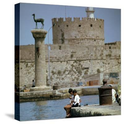Mandraki Harbour in Rhodes, 1st century BC-Unknown-Stretched Canvas Print