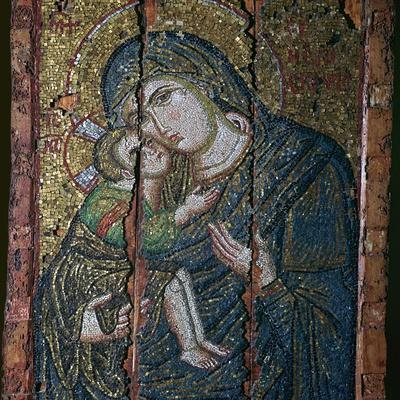 Mosaic ikon of the Virgin and Child, 14th century-Unknown-Framed Giclee Print