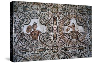 Detail of a Roman floor mosaic of the nine Muses, 3rd century-Unknown-Stretched Canvas Print