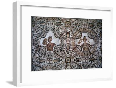 Detail of a Roman floor mosaic of the nine Muses, 3rd century-Unknown-Framed Giclee Print