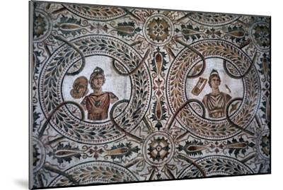 Detail of a Roman floor mosaic of the nine Muses, 3rd century-Unknown-Mounted Giclee Print