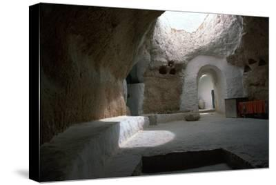 Pit dwelling in Tunisia-Unknown-Stretched Canvas Print