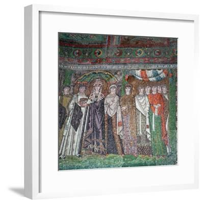 Mosaic of the Empress Theodora and her court, 6th century-Unknown-Framed Giclee Print