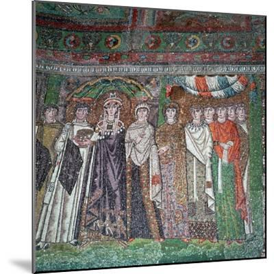 Mosaic of the Empress Theodora and her court, 6th century-Unknown-Mounted Giclee Print