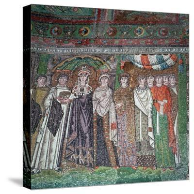 Mosaic of the Empress Theodora and her court, 6th century-Unknown-Stretched Canvas Print