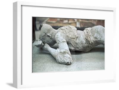 Cast of a victim of the eruption of Vesuvius, 1st century-Unknown-Framed Giclee Print
