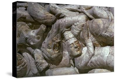 Detail from a carving on Souillac Abbey, 12th century-Unknown-Stretched Canvas Print