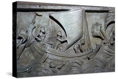 Roman relief of a merchant ship-Unknown-Stretched Canvas Print