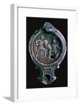 Roman clay lamp with design of gladiators, 3rd century-Unknown-Framed Giclee Print