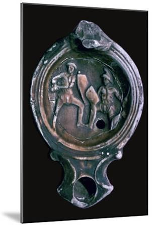 Roman clay lamp with design of gladiators, 3rd century-Unknown-Mounted Giclee Print