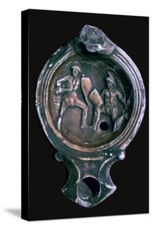 Roman clay lamp with design of gladiators, 3rd century-Unknown-Stretched Canvas Print