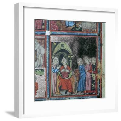 Illustration from the Golden Haggadah, 15th century-Unknown-Framed Giclee Print