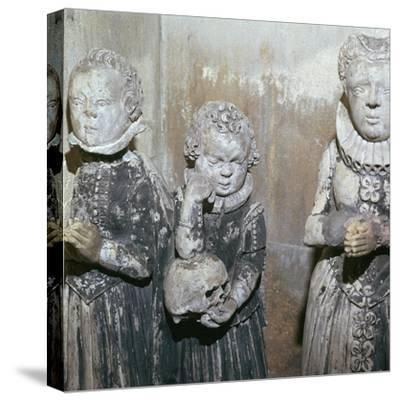 The children of Sir John Scudamore at his tomb, 17th century-Unknown-Stretched Canvas Print