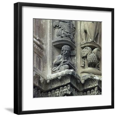 Front west detail of Chartres Cathedral, 12th century-Unknown-Framed Photographic Print