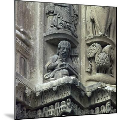 Front west detail of Chartres Cathedral, 12th century-Unknown-Mounted Photographic Print