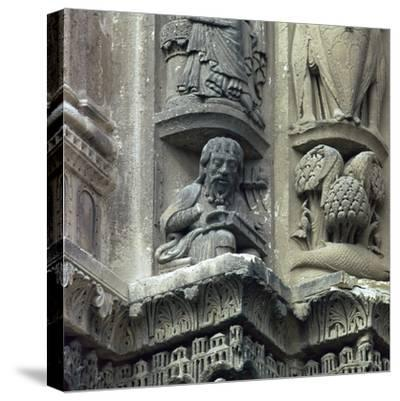 Front west detail of Chartres Cathedral, 12th century-Unknown-Stretched Canvas Print