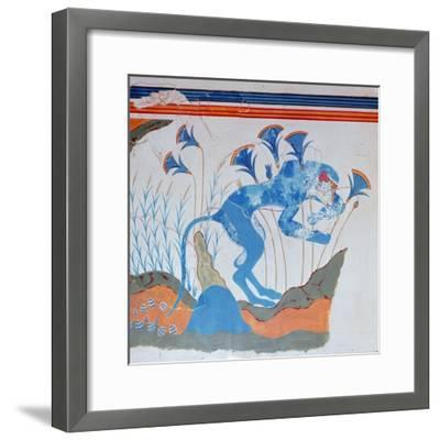 Cretan fresco of a monkey and papyrus, 16th-14th century BC-Unknown-Framed Giclee Print