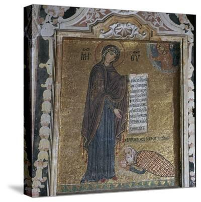 A mosaic of George of Antioch before the Virgin Mary, 15th century-Unknown-Stretched Canvas Print