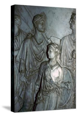 Roman relief of a Lictor carrying the Fasces in a procession-Unknown-Stretched Canvas Print