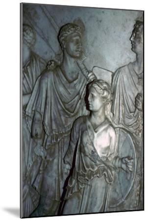 Roman relief of a Lictor carrying the Fasces in a procession-Unknown-Mounted Giclee Print