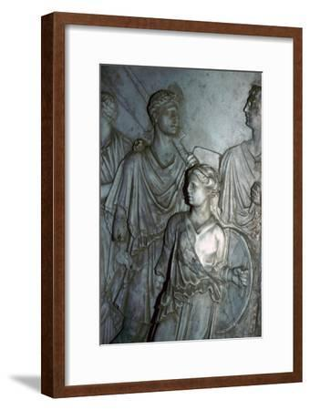 Roman relief of a Lictor carrying the Fasces in a procession-Unknown-Framed Giclee Print