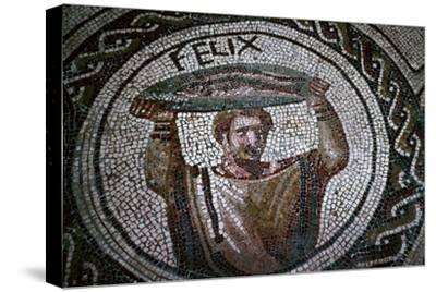 Roman mosaic of a man carrying fish-Unknown-Stretched Canvas Print