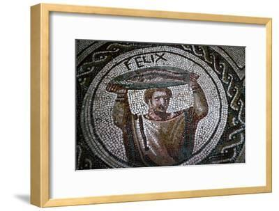 Roman mosaic of a man carrying fish-Unknown-Framed Giclee Print
