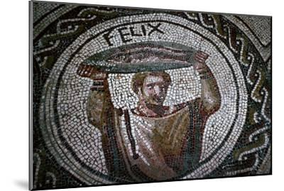 Roman mosaic of a man carrying fish-Unknown-Mounted Giclee Print