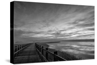 The long wooden footbridge. Dark version.-Leif Løndal-Stretched Canvas Print