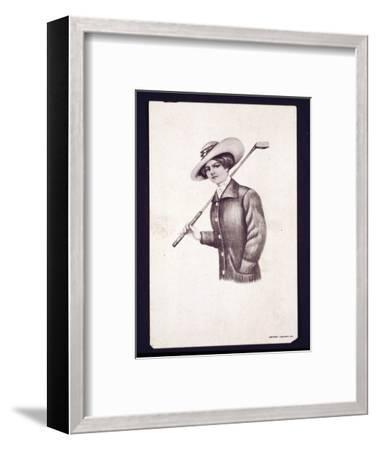 Postcard of woman holding golf club, c1900-Unknown-Framed Giclee Print