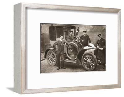 First taxi-cab in Liverpool, Merseyside, 1906-JP Wood-Framed Photographic Print