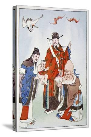The Gods of Happiness, Office and Longevity, 1922-Unknown-Stretched Canvas Print
