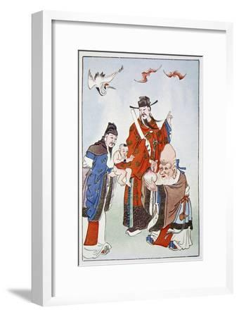 The Gods of Happiness, Office and Longevity, 1922-Unknown-Framed Giclee Print