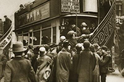 Londoners rushing for a bus on Ludgate Hill, c1920s(?)-Unknown-Framed Photographic Print